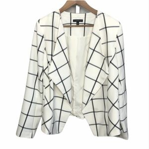 Lane Bryant Cream & Black Plaid Open Front Jacket